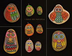 Hand Painted Pebble Owl Pendant /      These pendants are unique with their design. I paint and draw all of my original designs by hand with the acrylic paints, small brushes or paint pens with extra fine tip. I use also isographs (0,2 / 0,3) with different inks. No stencils are used. All designs are created with my imagination. They are protected with 2 or 3 layers of high quality acrylic varnish coat and are signed & numbered . For pendants its not recommended wearing them in the shower or…