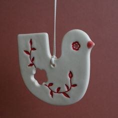 Brisbane artist Kylie Johnson / Paper Boat Press — Christmas bird ceramic ornament