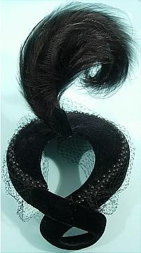 c. 1952 JEAN PATOU, Paris Black Velvet Hat with Tall Feather Plume and Full Face Veil. Cocktail hat of black velvet with a paradise plume.