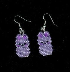 Purple Marshmallow Peeps Easter Bunny Beaded Earrings by FoxyMomma