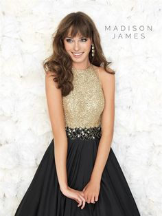 Madison James gold and black gown