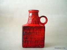 Bay Keramik red rectangular bottle vase by Bodo Mans , West German Mid Century Modern vase 71-17 with impressed pattern by Cherryforest on Etsy