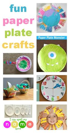Fun paper plate crafts for kids // Manualidades con platos de papel Daycare Crafts, Classroom Crafts, Toddler Crafts, Fun Crafts, Craft Activities For Kids, Toddler Activities, Projects For Kids, Preschool Activities, Craft Ideas