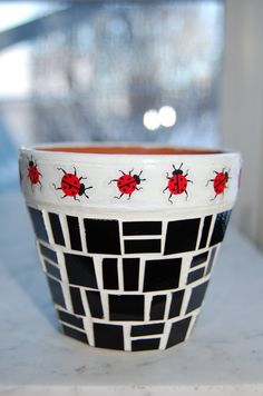 Ladybug Ladybug Mosaic Planter by 2ndCycle on Etsy