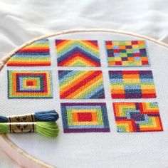 Cross Stitch Rainbow Block 8 - The Crafty Mummy