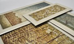 set of four woodblock reduction prints pulled from the same block  April I-IV