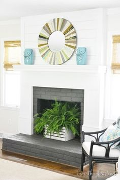 Warm your house with our big choice of indoor fireplaces. Store electrical fire places, gas fireplaces, fireplace inserts, artificial fire places, and more. Empty Fireplace Ideas, Unused Fireplace, Basement Fireplace, Build A Fireplace, Painted Brick Fireplaces, Brick Fireplace Makeover, Farmhouse Fireplace, Fireplace Mantle, Fireplace Surrounds