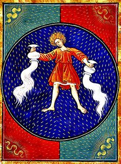 Aquarius, from a Book of Hours, Italy, circa 1475 Medieval Books, Medieval Manuscript, Medieval Art, Illuminated Manuscript, Aquarius Art, Age Of Aquarius, Tarot, High Middle Ages, Book Of Hours
