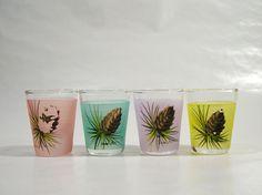 Vintage Shot Glasses Pastel Barware Set of 4