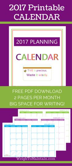 Here's a Free, super bright and colorful, printable 2017 Calendar!  It has:  a big 'ol 2-page spread for each month, ability to see a month at a glance for planning, big daily squares for lots of writing, spaces accommodate Post-It notes so you can move appointments around easily, lots of color to make you happy, start of the week on Monday, and it's free!