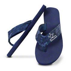 Dallas Cowboys Women's Sequin Strap Flip Flops
