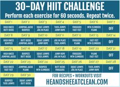 30-Day HIIT Challenge #fitness #workout #HIIT #cardio #heandsheeatclean 12 Week Workout, Mommy Workout, Best Ab Workout, Body Workouts, Workout Tips, Squat Workout, Postnatal Workout, 30 Day Cardio Challenge, August Challenge