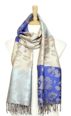 Rosalie Pashmina Scarf in Blues