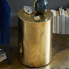 Etched Metal Side Table - Brass