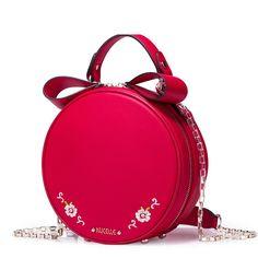 57.12$  Buy now - http://alimdb.worldwells.pw/go.php?t=32709157128 - Women's 2016 New Style Fashion Embroidered Flower Chain Mini Circular Handbag Cowhide Leather Shoulder Bag Crossbody Purse 57.12$