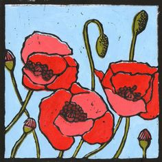 linocut..........Poppies by Zoe Anthistle