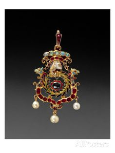 The Aberdeen Jewel; Jewelled and Enamelled Gold Pendant with a Lock of Hair of Mary Queen of Scots Giclee Print at AllPosters.com