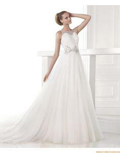2015 Ausgefallene Schicke Moderne Brautkleider aus Organza mit Perlenstickerei