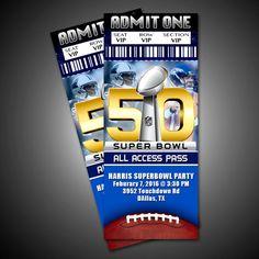 Super Bowl 50 Party Ticket Invitation by RedVelvetParties on Etsy $5