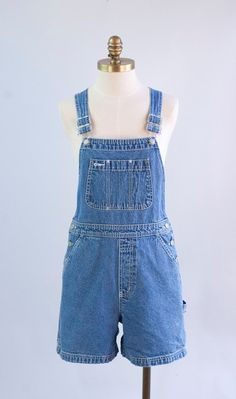 Perfect Denim Shorts Overalls 1990s Vintage by waywardcollection