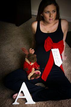 Christmas themed maternity photo