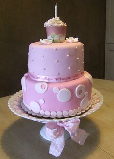 A Birthday Cake for a special little girl. 1st Birthday Cake For Girls, 1st Birthday Princess, Cute Birthday Cakes, 9th Birthday Parties, Birthday Ideas, Happy Birthday, Ballerina Party, Fancy Desserts, Sugar Craft