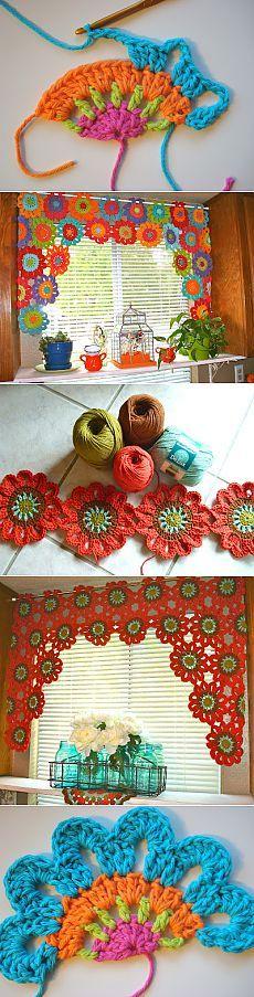 THROWBACK time: crochet daisy's made into valance (Hippy)