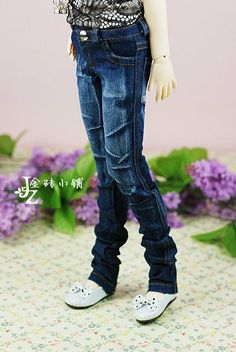 1/3BJD baby blue micro-bomb Slim wear white washed jeans - Taobao