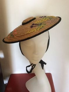 Vintage 1950s Summer Straw Hat Embroidered Wool Flowers 50s