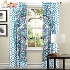 Indian Bohemian Room Decor Tapestry Mandala Curtain Window Sheer Scarf Divider #Handmade #Traditional