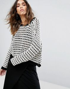 MOON RIVER DROP SHOULDER TEXTURED SWEATER - MULTI. #moonriver #cloth #