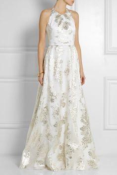 Lela Rose|Metallic fil coupé gown|NET-A-PORTER.COM