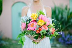 Pink + yellow peony bouquet
