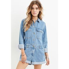 Forever 21 Women's  Buttoned Denim Romper ($33) ❤ liked on Polyvore featuring jumpsuits, rompers, forever 21 rompers, blue romper, playsuit romper, denim rompers and blue rompers