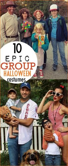 Fabulous Group Halloween Costumes. Epic family costumes for families, friends and co-workers. Sandlot, Stranger Things, Wreck it Ralph, Saved by the Bell, Space Cadets, Goonies, E.T. and emoji's. Inexpensive Halloween costumes. Comic Con costumes that are easy to assemble.