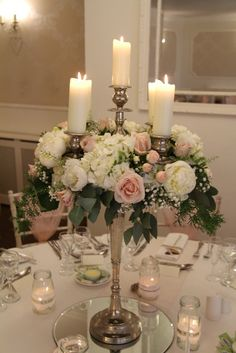 Blush Pink and Ivory Baroque Candelabra table centrepieces