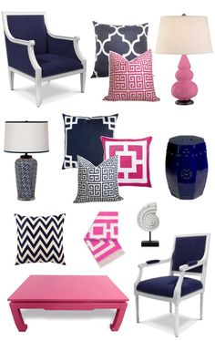Navy/white/pink decor. Looks like 55% of my closet as well!
