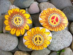Hi, This is a set of custom Peace Rocks! I have been spreading Peace rocks for over 7 years now and have painted over 17,377 Peace rocks. Each Peace rock has a number and the website on the back of each rock. I also have a kit in my shop that will help you to get started in spreading Peace Rocks.  The Peace sign and rock can be painted in all different colors. If you have a design or specific color that you want, this is your chance to create it. You can choose a small size rock or a bigger…