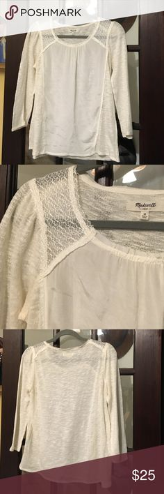Madewell Silk Front Top White mixed material top by Madewell. Size M - TTS. Worn once or twice. (100 % cotton, and 100 % silk front Panel) Madewell Tops Blouses