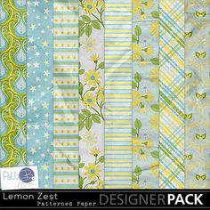 A lively and fun color palette with blue and green, and with soft to bright yellows.  It brings to mind perky smiles, for scrapping layouts that are dynamic and full of life.