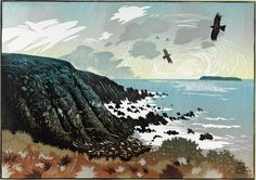 """Choughs Circle in the Evening Light"", 2012, linocut by Ian Phillips. http://www.reliefprint.co.uk/ Tags: Linocut, Cut, Print, Linoleum, Lino, Carving, Block, Woodcut, Helen Elstone, Sea, Landscape, Birds, Sky."