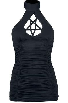 GOTHICANA BY EMP PENTAGRAM HALTERNECK TOP IN BLACK