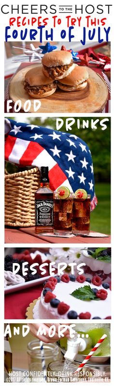 Summer BBQs, fireworks, pool parties, and all the other 4th of July fun is almost here! Find the best food, alcoholic and non-alcoholic drink recipes and easy to make red, white and blue themed desserts at CheerstotheHost.com.
