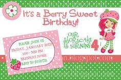 Strawberry Shortcake Birthday Party Invitation @ inviteflo etsy