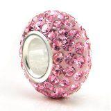 Swaroski Pink Crystal Ball Bead Sterling Silver Charm Fits Pandora Chamilia Biagi Trollbeads European Bracelet