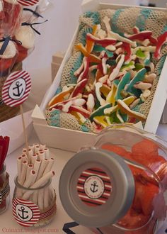 Nautical Food, Nautical Party, Baby 1st Birthday, Pirate Birthday, Birthday Ideas, Baby Shower Themes, Baby Boy Shower, Sailor Party, Bar A Bonbon