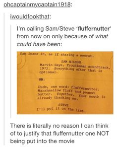 """To hear Sam Wilson say """"fluffernutter"""" would have been fantastic."""
