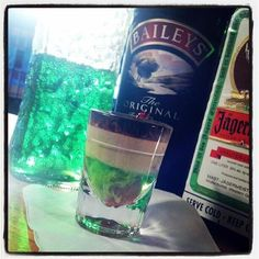Loch Ness Monster Shot; 1/3 midori melon liquer, baileys, jagermeister. Garnish with a marachino cherry