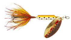 Yakima Bait Wordens Original Rooster Tail Spinner Lure, Tinsel Brown Trout, 1/4-Ounce: Worden's Original Rooster tail 1/4-Ounce Multi-Specie Casting and Trolling Spinner offers a unique spinning action, in-line weighted body design, genuine silver, brass or copper blades and a pulsating hackle tail that attracts fish like no other spinner on the market.