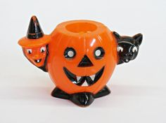 Rosbro Halloween Pumpkin Witch Black Cat Candy Container by KentonCollectibles, $25.00